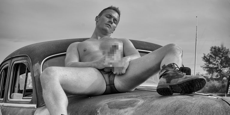 male nude photo shoot in a junkyard near Houston