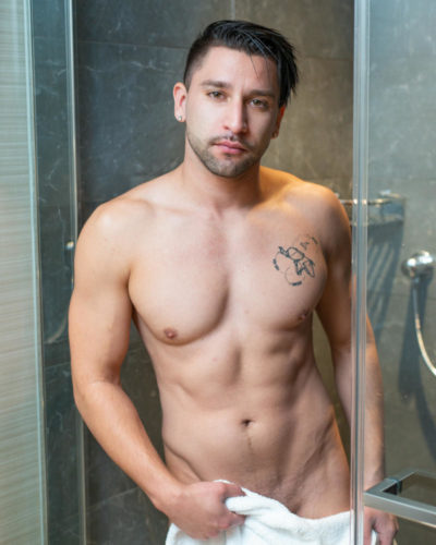 Naked guy with towel in shower | Trey Fox - Nude Male Photography